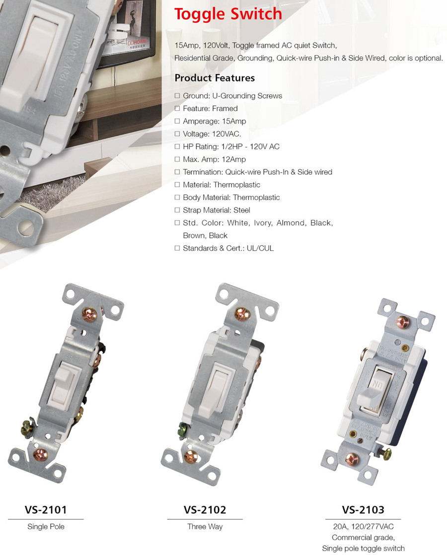Toggle Switch Huajia Electrical Group Coltd 15 Amp Single Pole With Side And Push Wiring White Vecas Seriestoggle Hits124